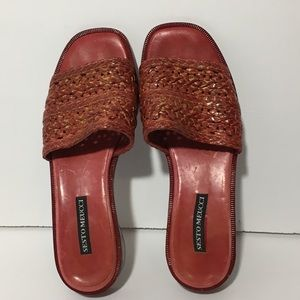 Red Leather Wedge Sandals Size 8 Sesto Meucci